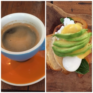 a cup of great coffee+ croissant served with poached egg+good friends, I'm in heaven!