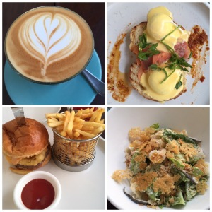 a cup of cappucino, paoched eggs, super burger and caesar salad.. SUPER YUMMY!!